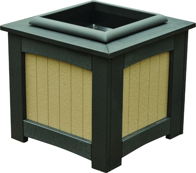 "Berlin Gardens 18"" Square Planter w/ Insert (Natural Finish)"