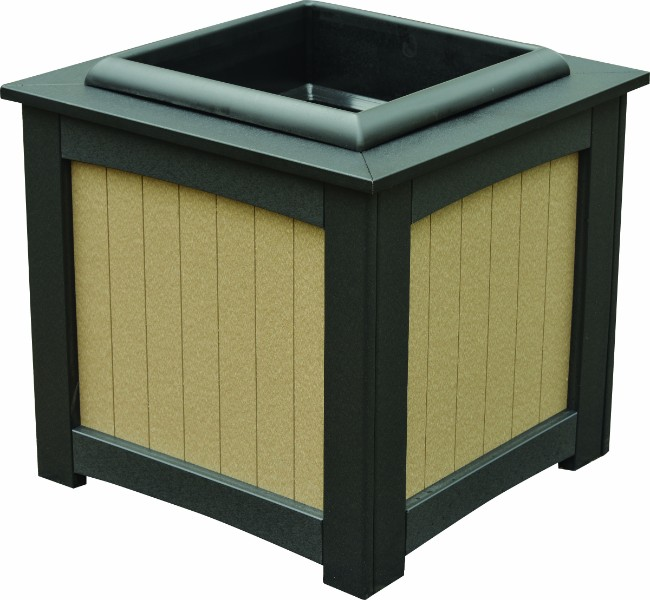 "Berlin Gardens 22"" Square Planter w/ Insert (Natural Finish)"