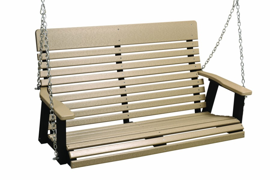 Berlin Gardens Casual-Back Double Swing (Natural Finish/Stainless Chains)